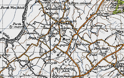Old map of Llangwnnadl in 1947
