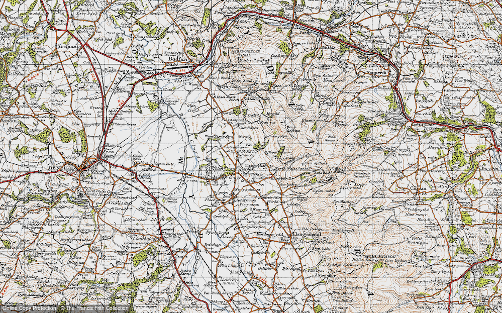 Old Map of Historic Map covering Bancar in 1947