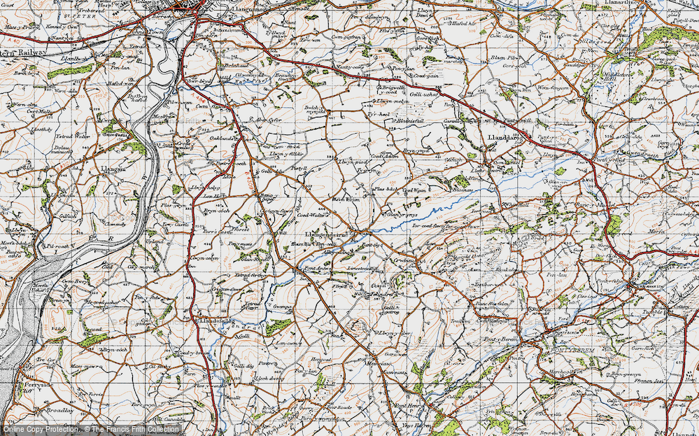 Old Map of Historic Map covering Alltycadno in 1946
