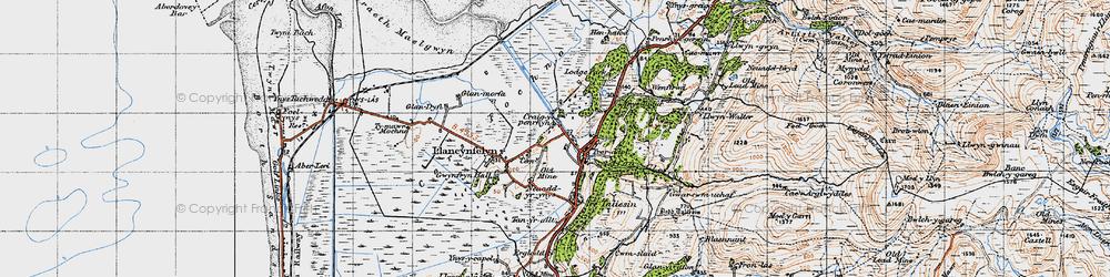 Old map of Llangynfelyn in 1947