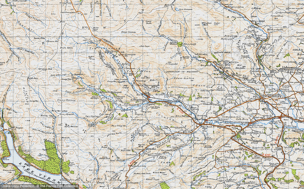Old Map of Historic Map covering Afon Eirth in 1947