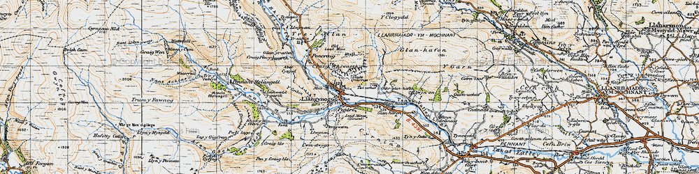 Old map of Llangynog in 1947