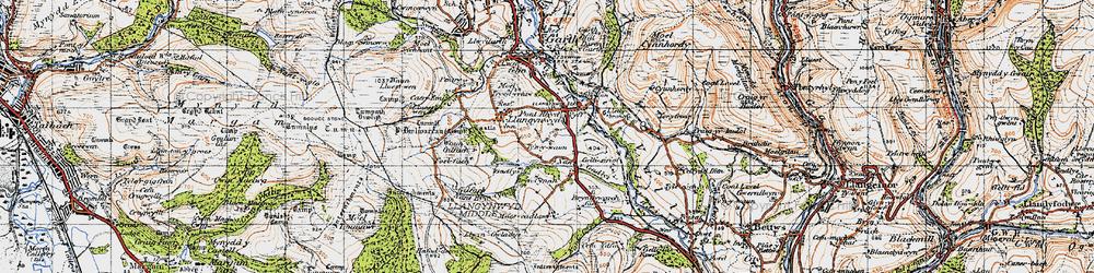 Old map of Llangynwyd in 1947
