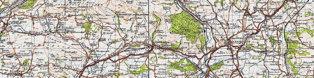 Old map of Llanharan in 1947
