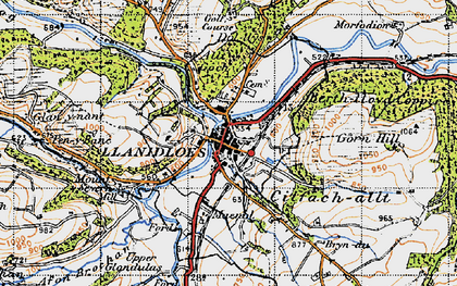 Old map of Llanidloes in 1947