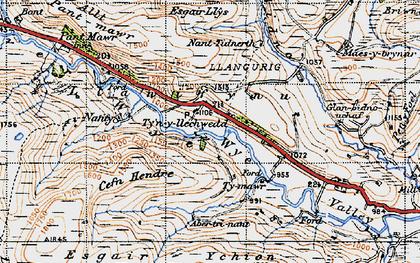 Old map of Afon Bidno in 1947