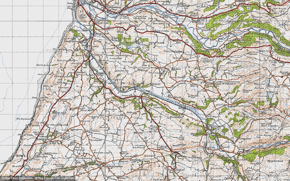 Old Map of Historic Map covering Lanlwyd in 1947