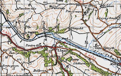 Old map of Llanilar in 1947