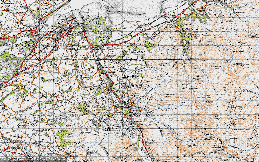 Old Map of Historic Map covering Afon Ogwen in 1947