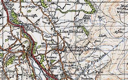 Old map of Afon Ogwen in 1947