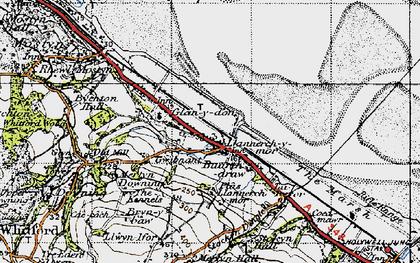 Old map of Llannerch-y-môr in 1947