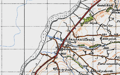 Old map of Llanon in 1947