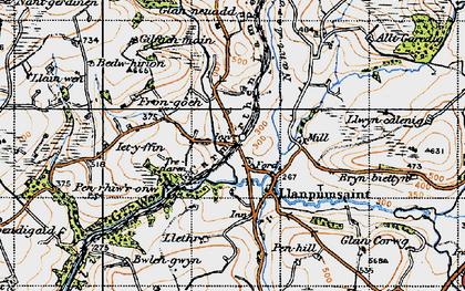 Old map of Alltgaredig in 1946