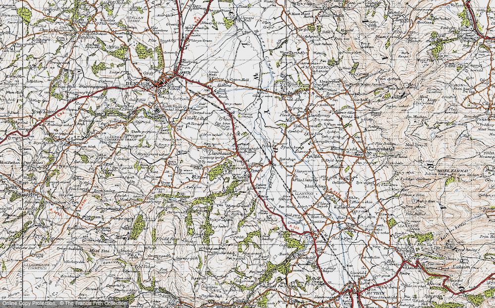 Old Map of Llanrhaeadr, 1947 in 1947
