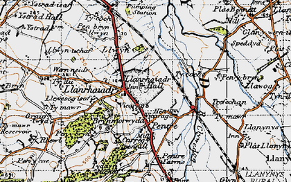 Old map of Llanrhaeadr in 1947