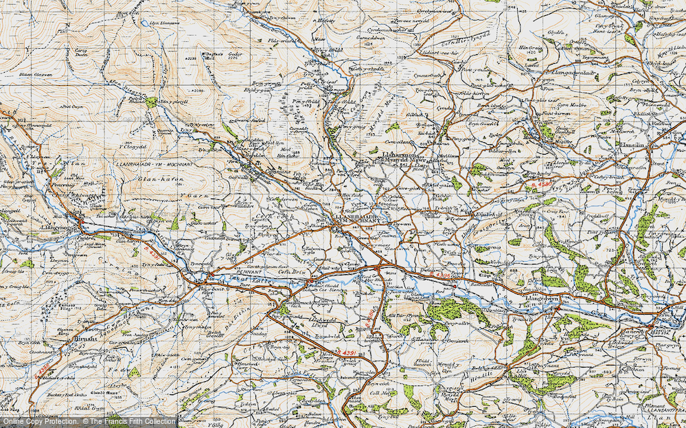 Old Map of Historic Map covering Afon Rhaeadr in 1947
