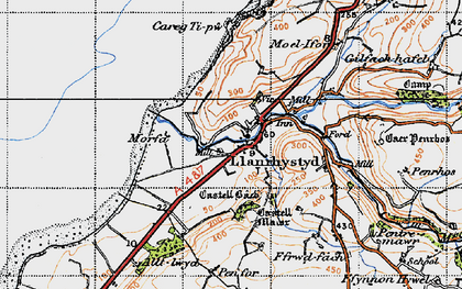 Old map of Llanrhystud in 1947