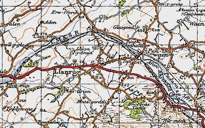 Old map of Llanrug in 1947