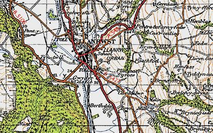 Old map of Llanrwst in 1947