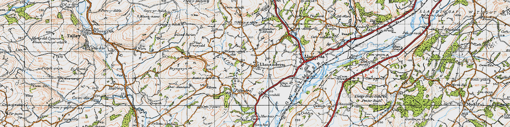 Old map of Aberdeunant in 1947