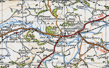 Old map of Llansanffraid-ym-Mechain in 1947