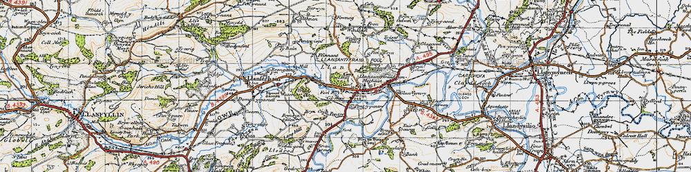 Old map of Y Ffrîdd in 1947