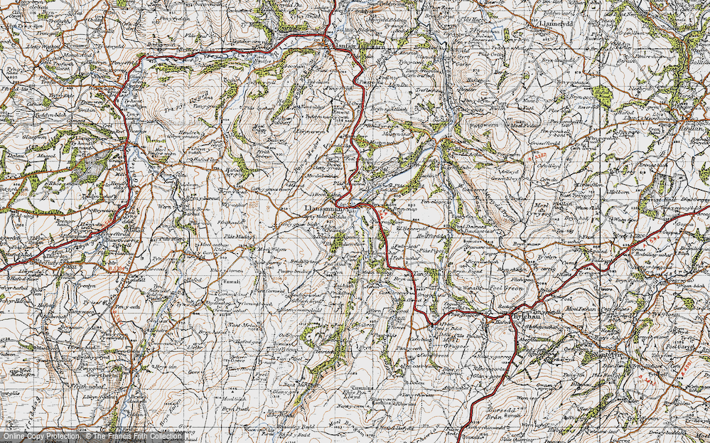 Old Map of Historic Map covering Acrau in 1947