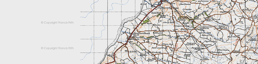 Old map of Llansantffraed in 1947