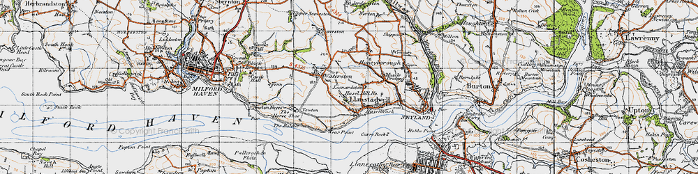 Old map of Llanstadwell in 1946