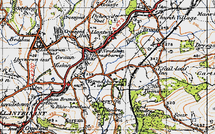 Old map of Llantwit Fardre in 1947