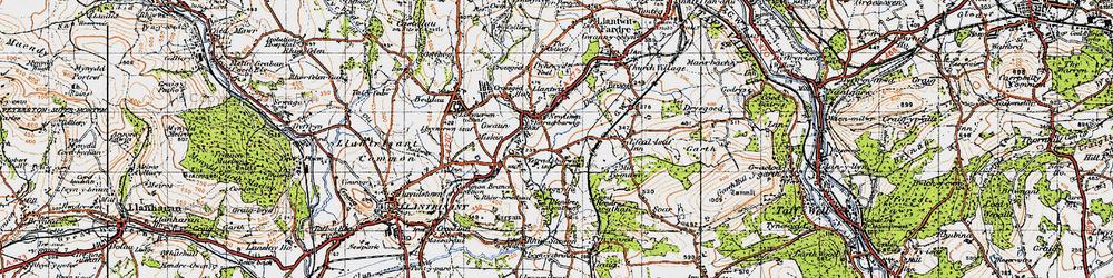 Old map of Llantwit Fardre in 1947