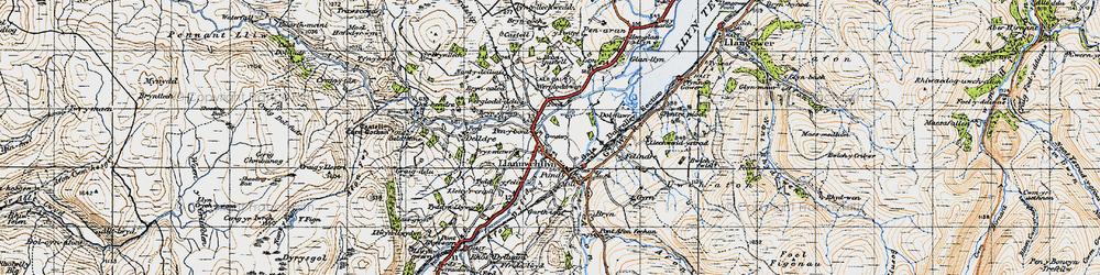 Old map of Llanuwchllyn in 1947