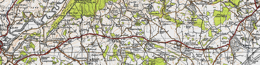 Old map of Whitebrook in 1946