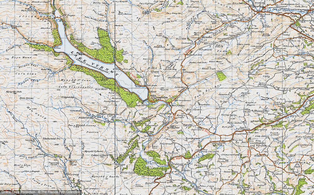 Old Map of Historic Map covering Afon y Dolau Gwynion in 1947
