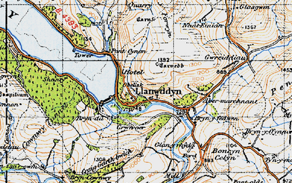 Old map of Llanwddyn in 1947