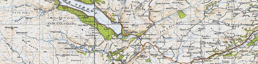 Old map of Llanwddyn in 1947
