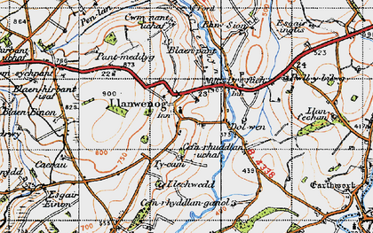Old map of Abertegan in 1947