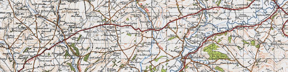 Old map of Abertegan in 1947