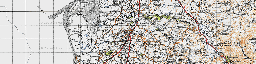 Old map of Llanwnda in 1947