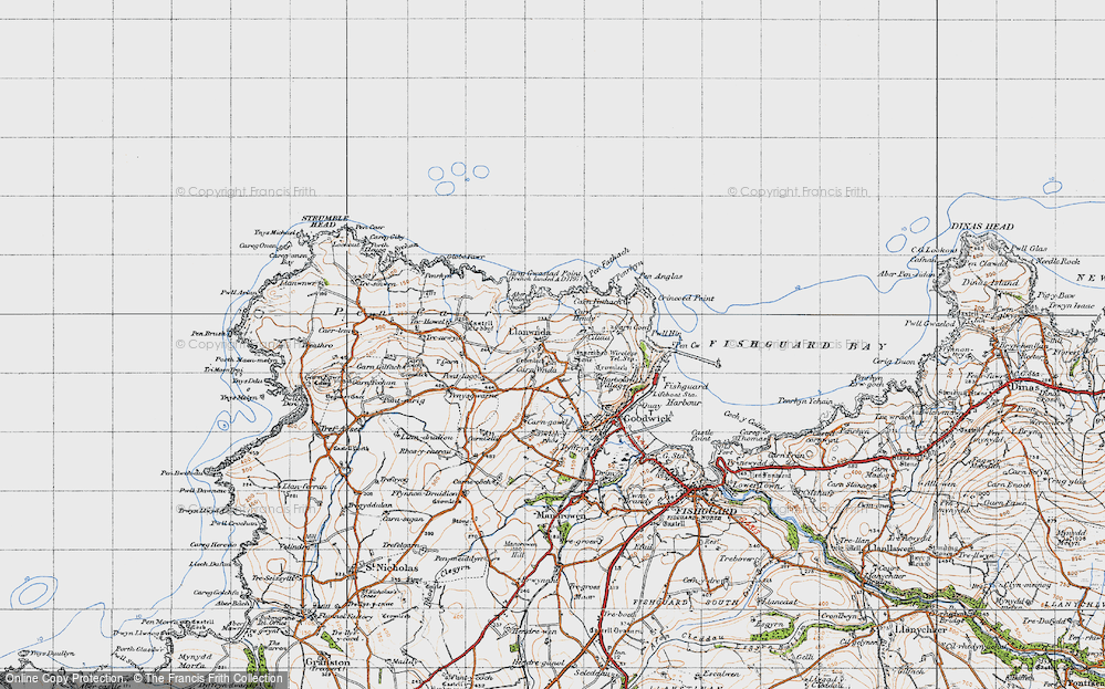 Old Map of Historic Map covering Y Globa Fawr in 1947