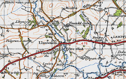 Old map of Afon Grannell in 1947