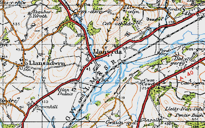 Old map of Llanwrda in 1947