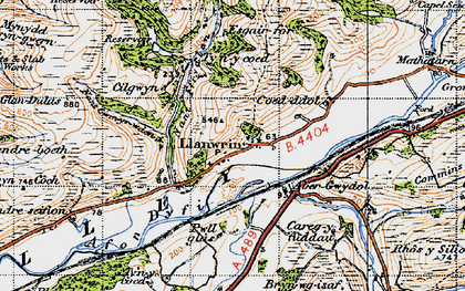 Old map of Abergwydol in 1947