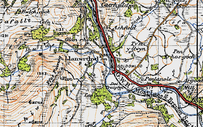 Old map of Ashfield in 1947