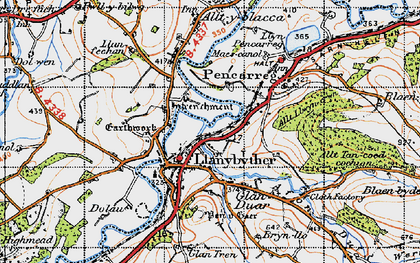 Old map of Afon Duar in 1947