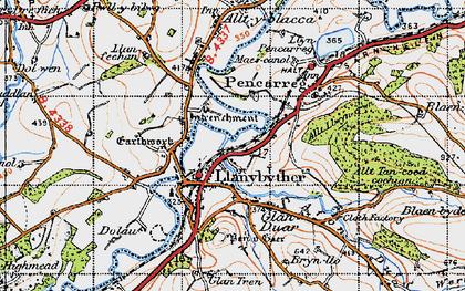 Old map of Allt Llwyn-crwn in 1947