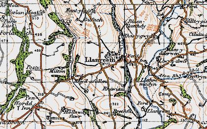 Old map of Afon Rhyd-y-bil in 1946