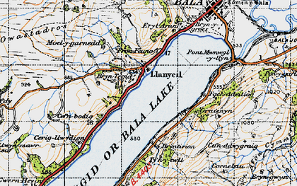 Old map of Llanycil in 1947