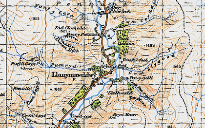 Old map of Afon Rhiwlech in 1947