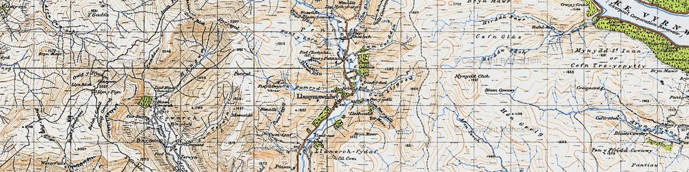 Old map of Llanymawddwy in 1947